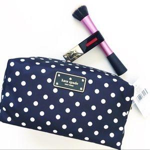 Kate Spade polka dot medium Davie cosmetic pouch
